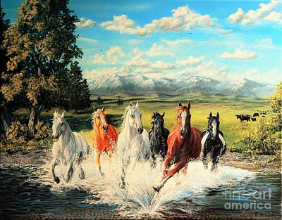 Painting - Montana Range Horses by Ruanna Sion Shadd a'Dann'l Yoder