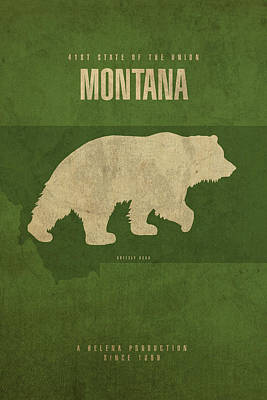 Grizzly Bear Mixed Media - Montana State Facts Minimalist Movie Poster Art by Design Turnpike