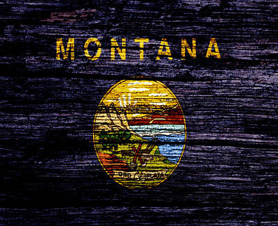 Yellowstone Mixed Media - Montana State Flag 1w by Brian Reaves