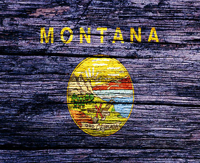 Yellowstone Mixed Media - Montana State Flag 2w by Brian Reaves