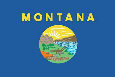 State Of Montana Painting - Montana State Flag by American School