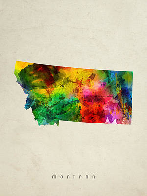 Montana Digital Art - Montana State Map 01 by Aged Pixel
