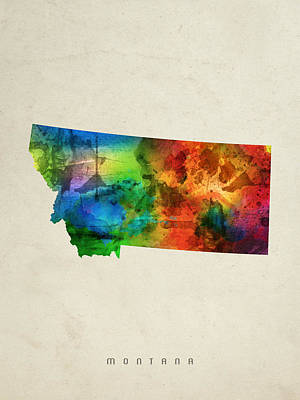 Montana Digital Art - Montana State Map 03 by Aged Pixel