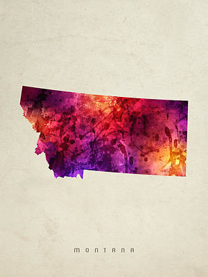 Montana Digital Art - Montana State Map 05 by Aged Pixel
