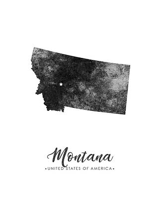 Geography Mixed Media - Montana State Map Art - Grunge Silhouette by Studio Grafiikka