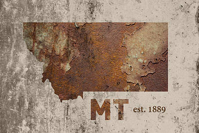 State Of Montana Mixed Media - Montana State Map Industrial Rusted Metal On Cement Wall With Founding Date Series 041 by Design Turnpike