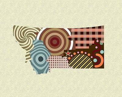 State Of Montana Digital Art - Montana State Map by Lanre Studio