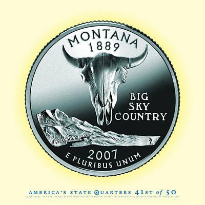 State Of Montana Digital Art - Montana State Quarter - Portrait Coin 41 by Garrett Burke