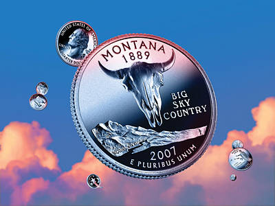 State Of Montana Digital Art - Montana State Quarter - Sky Coin 41 by Garrett Burke