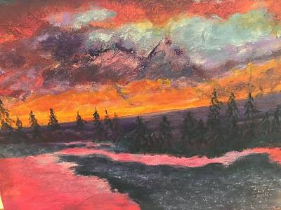 Painting - Montana Sunset by Lucille Valentino