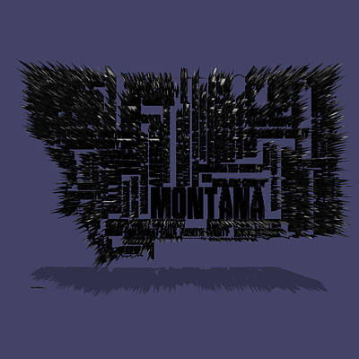 Montana Map Mixed Media - Montana Typographic Map 4c by Brian Reaves