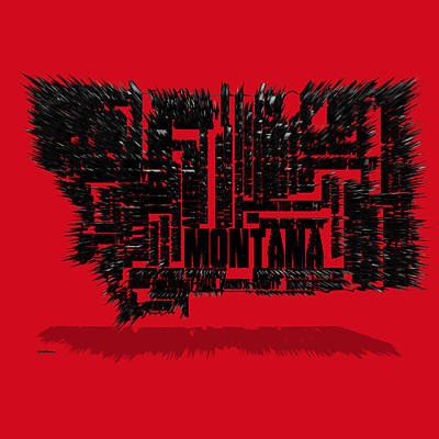 Montana State Map Mixed Media - Montana Typographic Map 4d by Brian Reaves