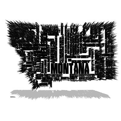 Montana State Map Mixed Media - Montana Typographic Map 4e by Brian Reaves
