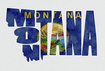 Montana Typography Map Flag Print by Kevin O'Hare
