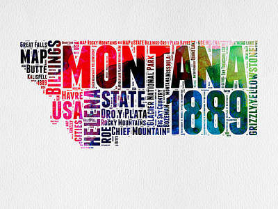 State Of Montana Digital Art - Montana Watercolor Word Cloud  by Naxart Studio