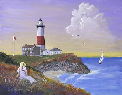 Painting - Montauk Lighthouse by Jerry McElroy