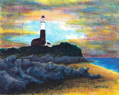 Ship Wreck Painting - Montauk Point by Teddy Campagna