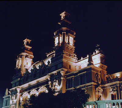 Photograph - Monte Carlo Casino Ocean View At Night by John Bowers