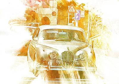 Digital Art - Monte Cetona Classic Car Rally Participants 11 Jaguar Mark 2 by Dorothy Berry-Lound