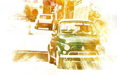 Digital Art - Monte Cetona Classic Car Rally Participants 16 Fiat 500 by Dorothy Berry-Lound