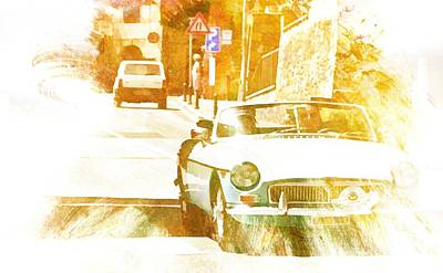 Digital Art - Monte Cetona Classic Car Rally Participants 17 Mgb by Dorothy Berry-Lound