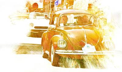 Digital Art - Monte Cetona Classic Car Rally Participants 22 Volkswagon Beetle by Dorothy Berry-Lound