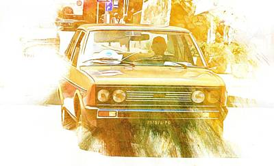 Digital Art - Monte Cetona Classic Car Rally Participants 25 Fiat 1500c by Dorothy Berry-Lound
