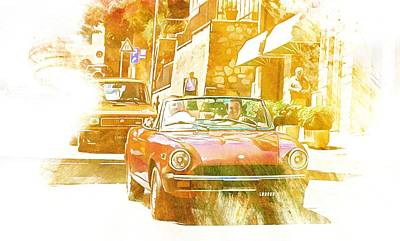 Digital Art - Monte Cetona Classic Car Rally Participants 27 Fiat 124 Spider by Dorothy Berry-Lound