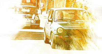 Digital Art - Monte Cetona Classic Car Rally Participants 28 Autobianchi A112 by Dorothy Berry-Lound