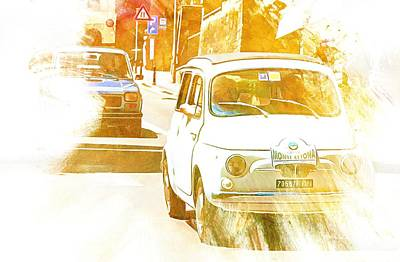 Digital Art - Monte Cetona Classic Car Rally Participants 30 Fiat 500 D by Dorothy Berry-Lound
