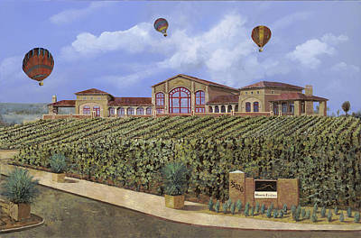 Curated Round Beach Towels - Monte de Oro and the air balloons by Guido Borelli