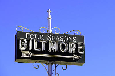 Print featuring the photograph Montecitio Biltmore Sign by Art Block Collections