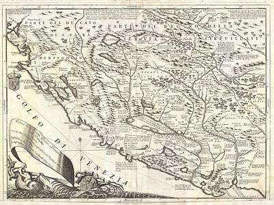 Montenegro 1690 Map Art Print by Dan Sproul