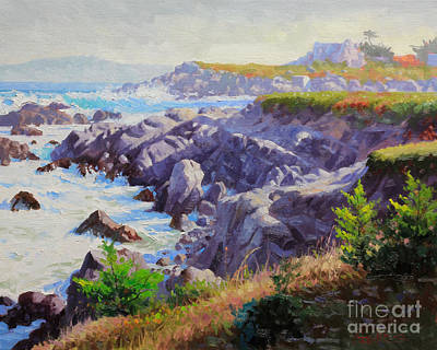 Flying Seagull Painting - Monteray Bay Morning 1 by Gary Kim