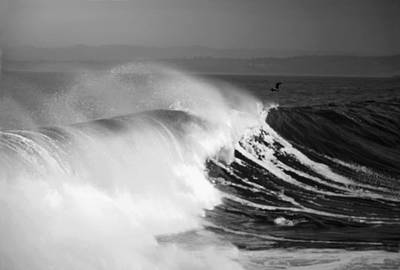 Photograph - Monterey Bay Surf B And W by Joyce Dickens