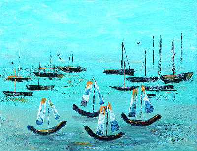 Painting - Monterey Boats by Haleh Mahbod