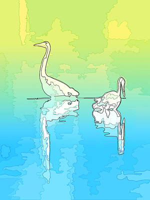 Photograph - Abstract Herons Shoreline by Keith Boone