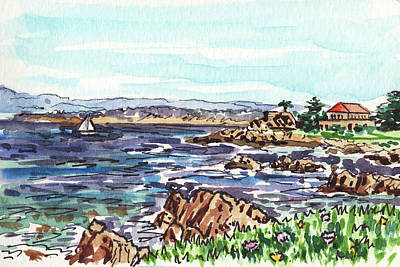 Stanford Wall Art - Painting - Monterey Pacific Ocean Shore  by Irina Sztukowski