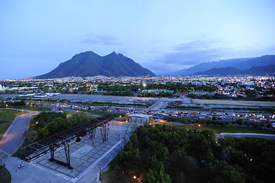 Lights And Lighting Photograph - Monterrey At Dusk With Cerro De La by Raul Touzon