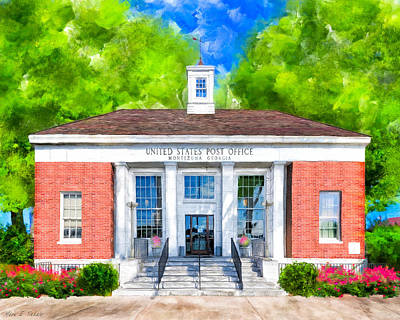 Mixed Media - Montezuma Georgia - New Deal Era Post Office by Mark Tisdale