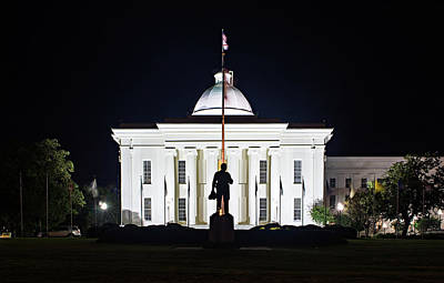 Photograph - Montgomery Alabam Downtown At Night Time by Alex Grichenko