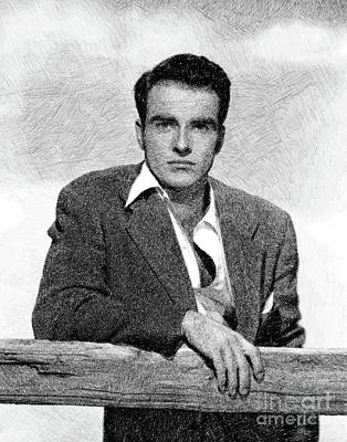 Musicians Drawings - Montgomery Clift, Vintage Actor by JS by John Springfield