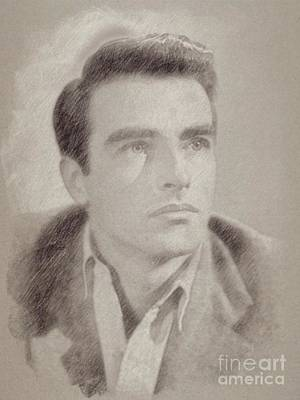 Star Trek Drawing - Montgomery Clift Vintage Hollywood Actor by Frank Falcon