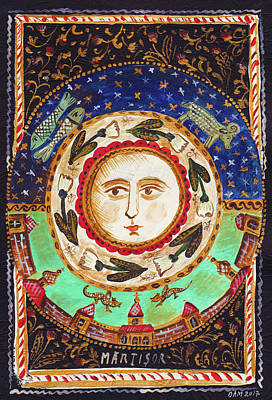 Folk Art Painting - Month Of March by Ana Dragan