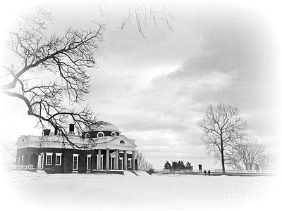 Photograph - Monticello In Black And White by Jean Wright