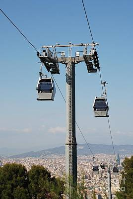 Photograph - Montjuic Hill Cable Cars In Barcelona by David Fowler