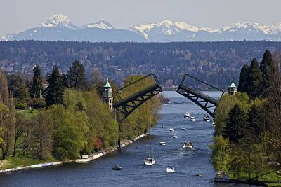 Built Structure Photograph - Montlake Bridge And Cascade Mountains by C. Chase Taylor
