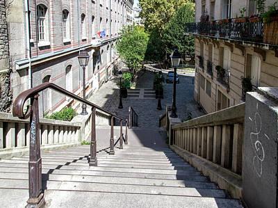Digital Art - Montmarte Paris Street Stairs by Carol Ailles