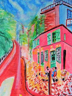 Montmartre Cafe In Paris Art Print