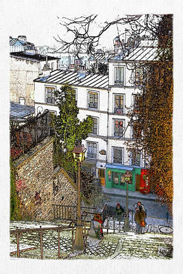 Sacre Coeur Digital Art - Montmartre by David Pringle